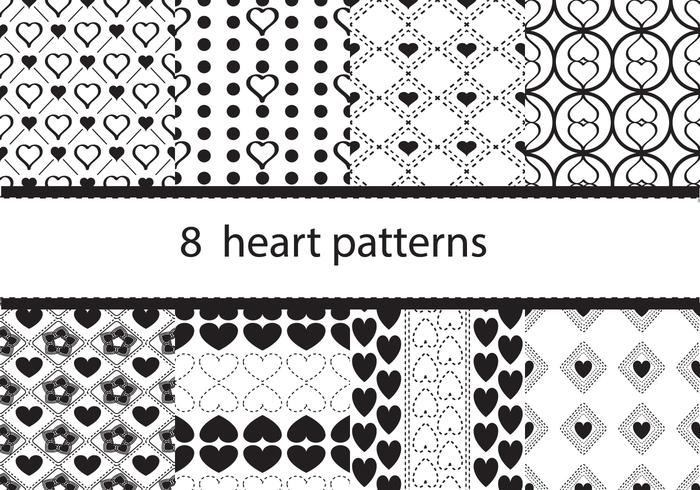 Eight Heart Pattern Vectors