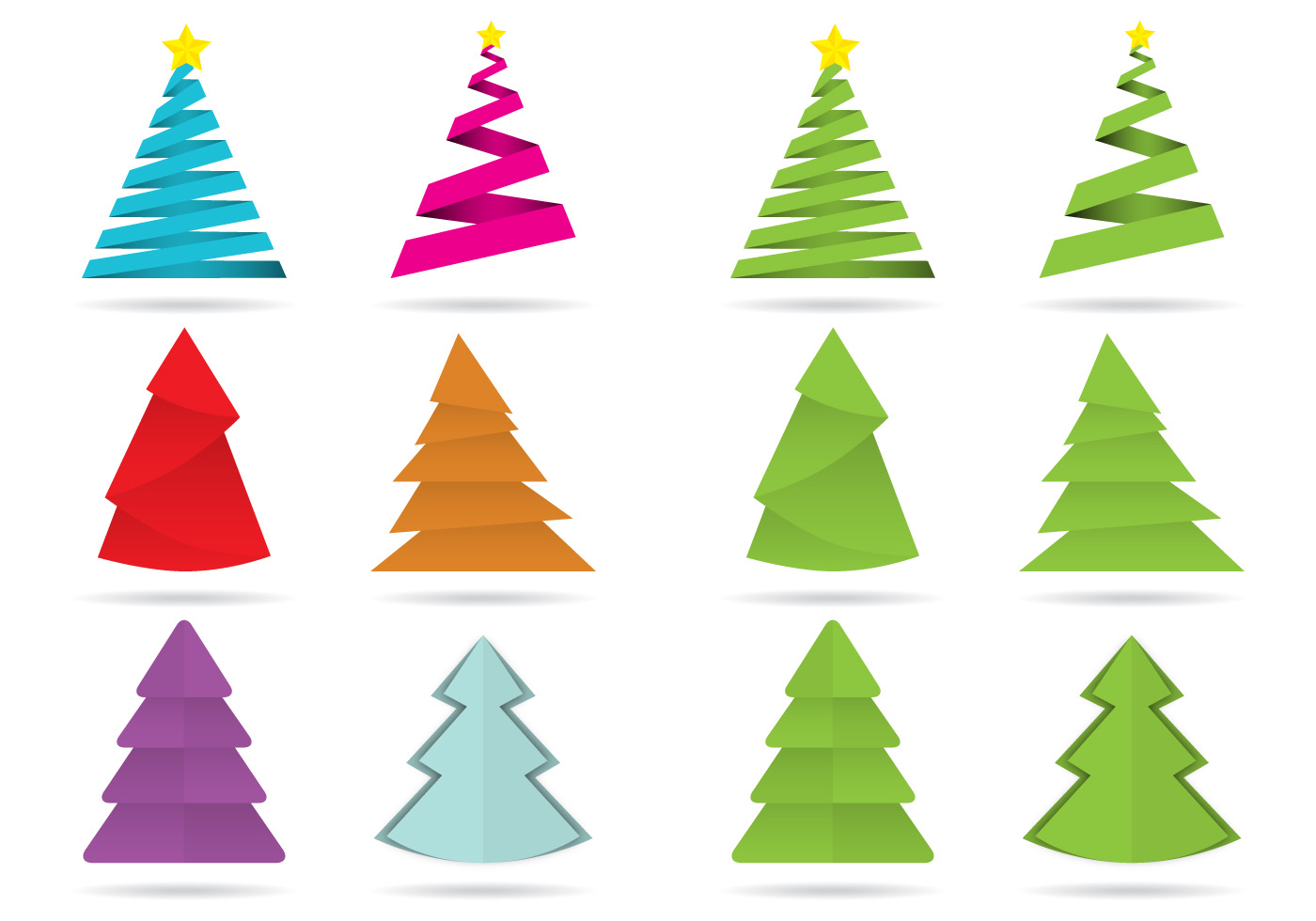 Colorful Christmas Tree Vector.Origami Christmas Free Vector Art 196 Free Downloads