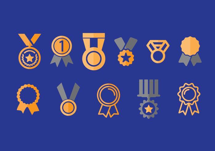 Primer lugar iconos de vectores de cinta conjunto 2