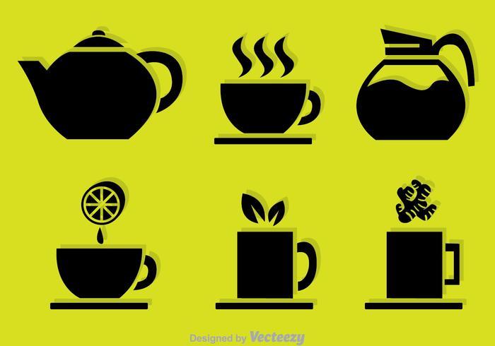 Iconos del vector del negro del té