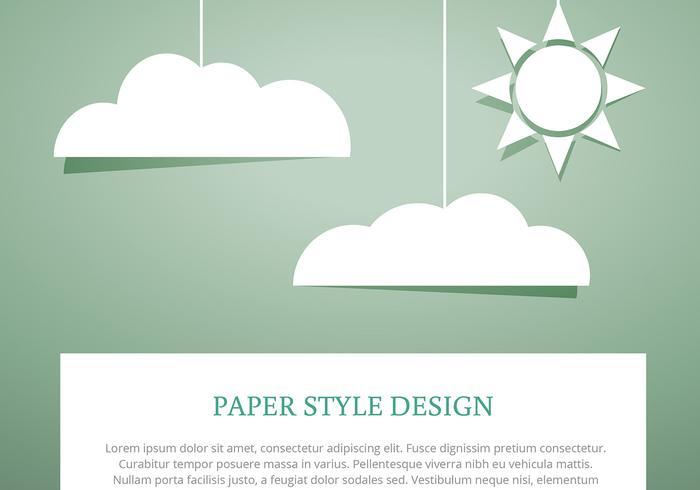 Ciel, nuages, papier, coupure, style, vecteurs