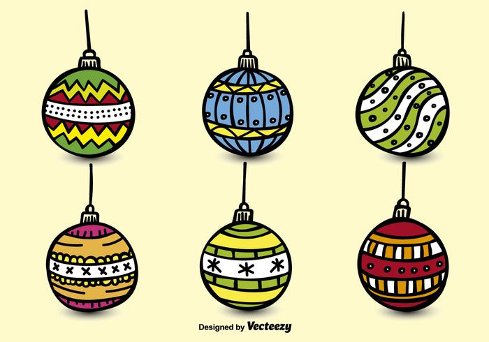 Hand drawn christmas spheres