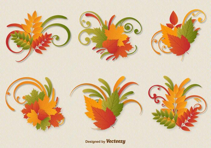 Autumn Leaves Ornament Vectors