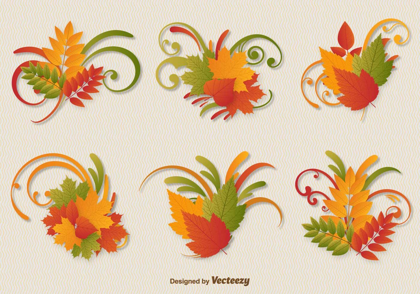 Autumn Leaves Ornament Vectors - Download Free Vectors ...