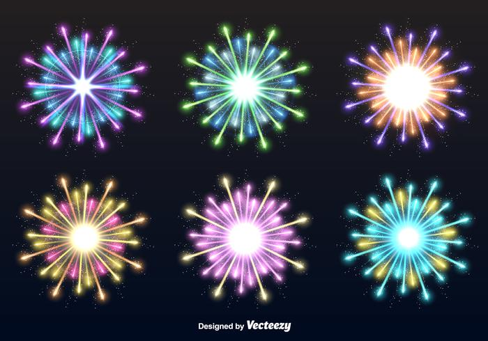 Fireworks explosions vector