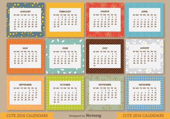 Calendario 2016 vettore