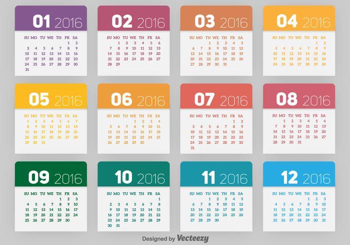 2016 kalendern vektor