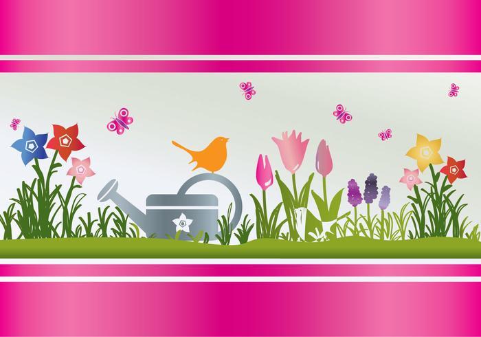 Flores de primavera regando