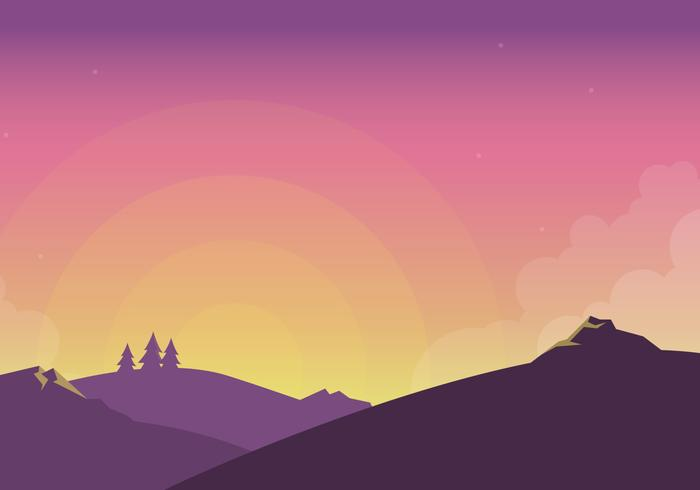 Sunset Scene Vector