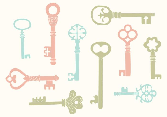 Hand Drawn Vintage Key Vectors