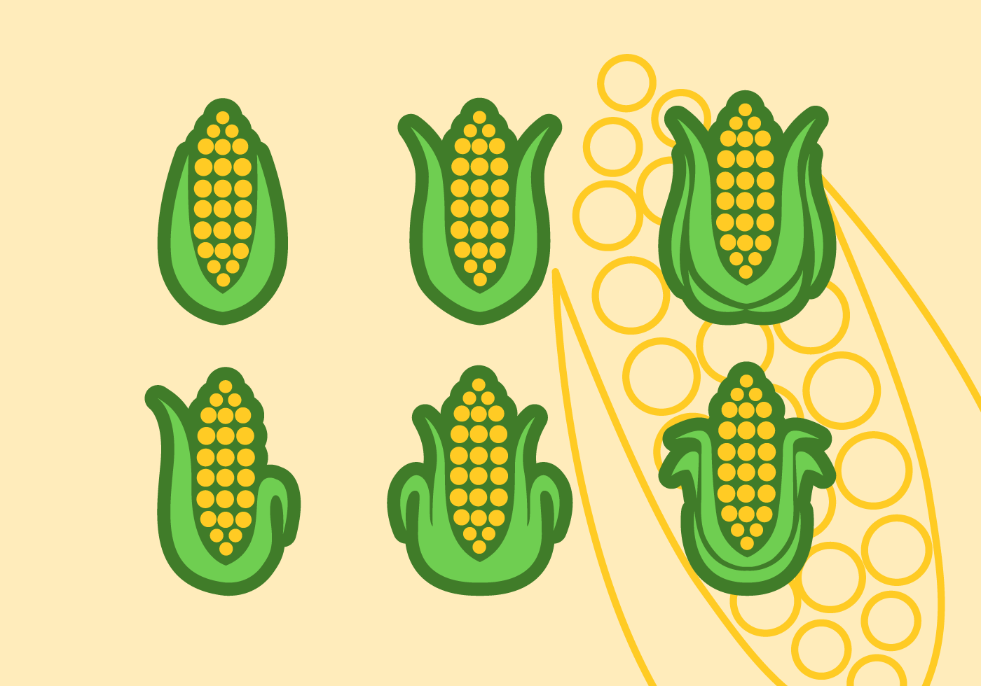 Set Of Ear Of Corn Vector Flat Icons Download Free