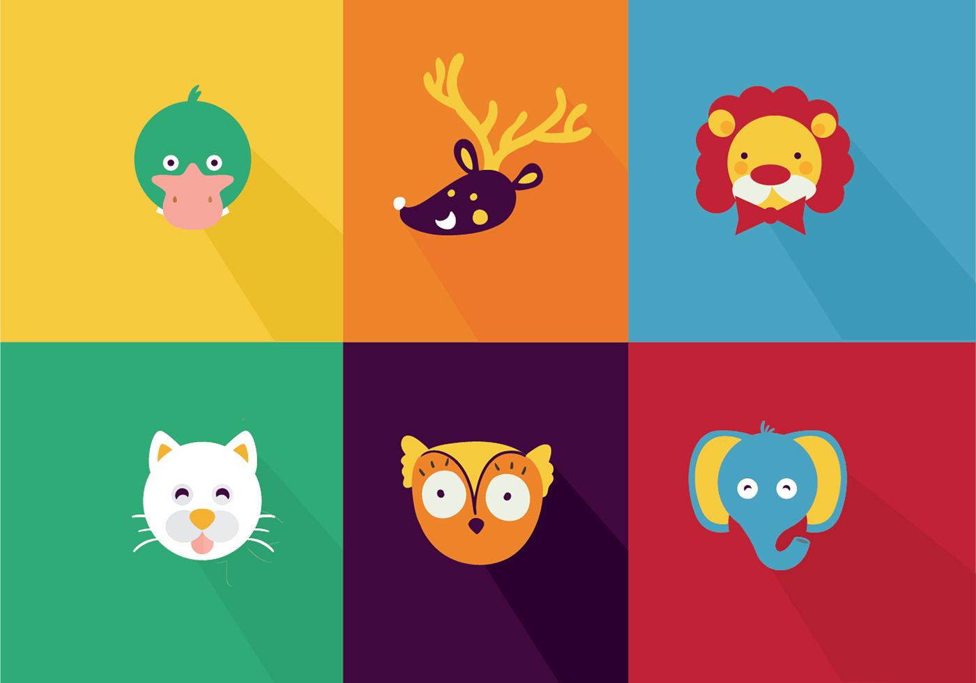 Cute Animal Cartoon Vectors - Download Free Vector Art ...