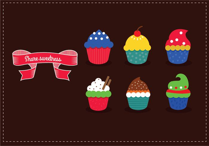 Delicious yummy vector cupcakes with sprinkles
