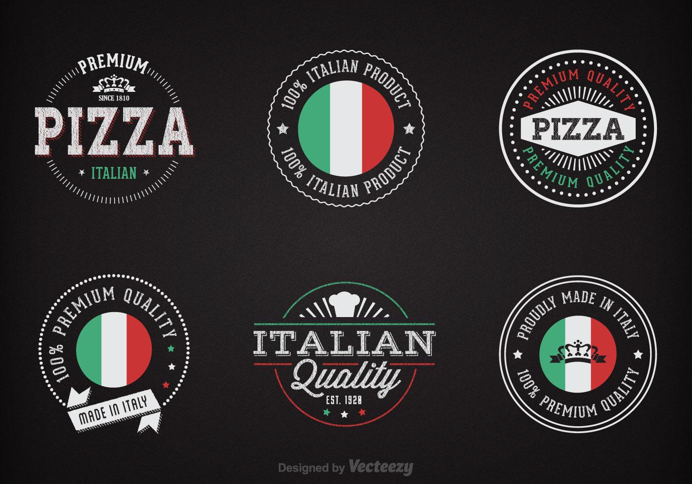 Italian Restaurant Logo With Flag: Free Chalk Italian Badges Vector