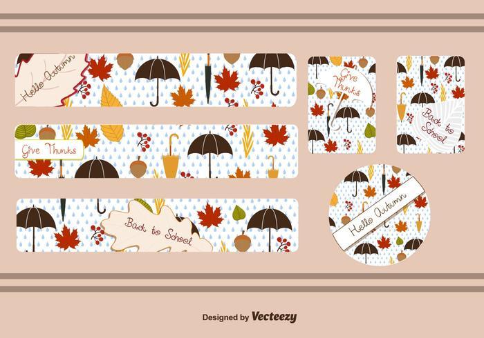 Fall Leaf Banner Vectors