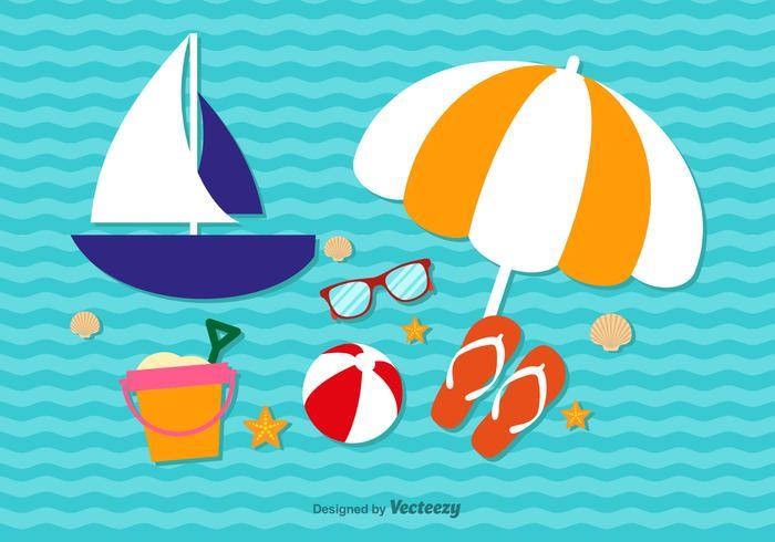 Summer cute vacation elements vector
