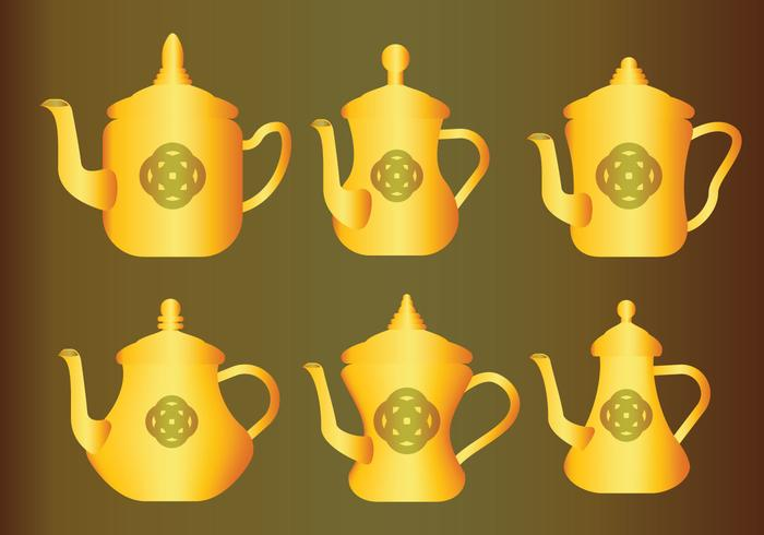 Gold Arabic Coffee Pot Vectors
