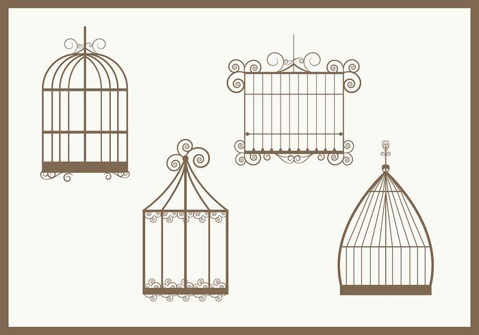 Vetores vintage da gaiola de pássaro