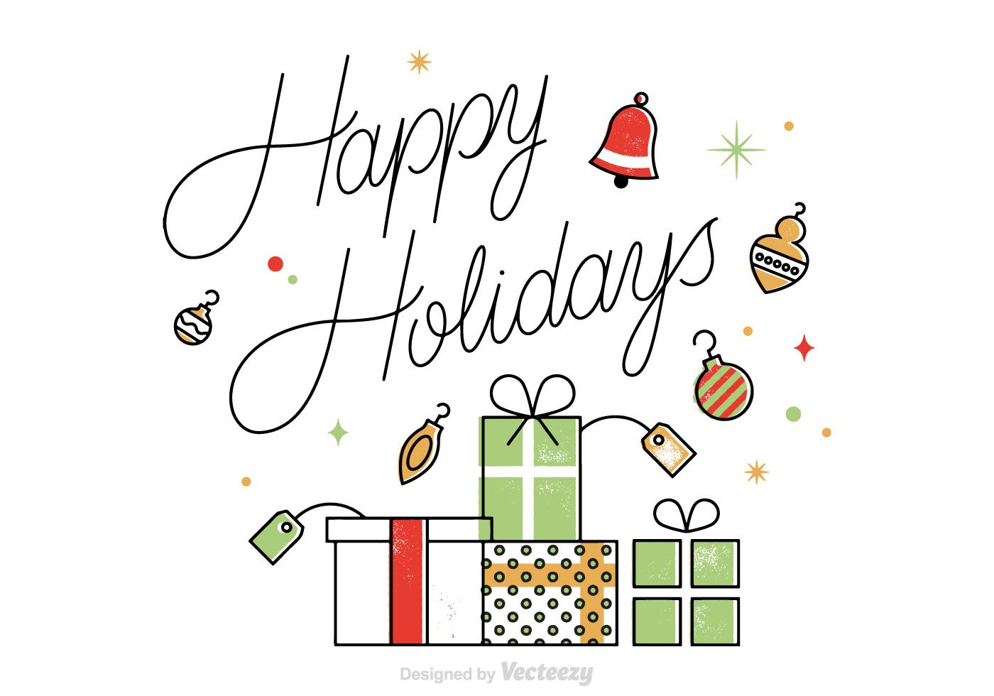 Vector Happy Holidays Card - Download Free Vector Art