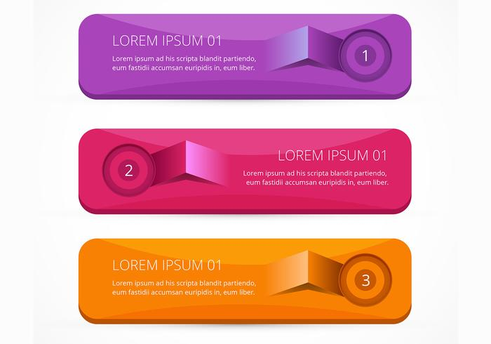 Lifted bright infographic banner vectors set