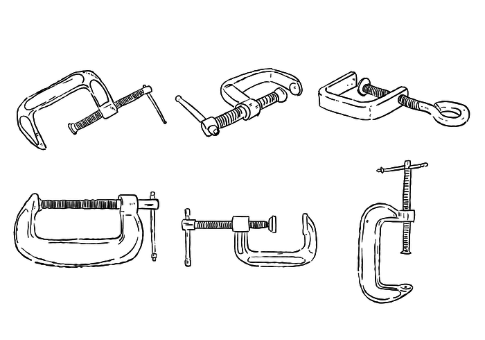 Scribble c clamp vector set