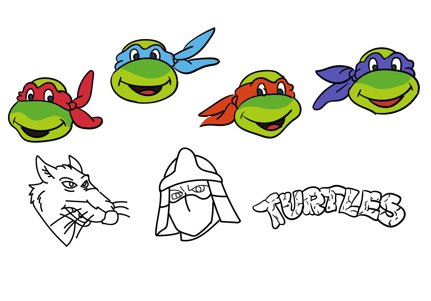 Ninja turtle printable faces