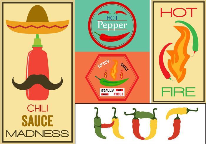 Sinais do vetor de pimenta quente