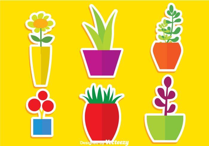 Planta Växter I Pot Vektorer