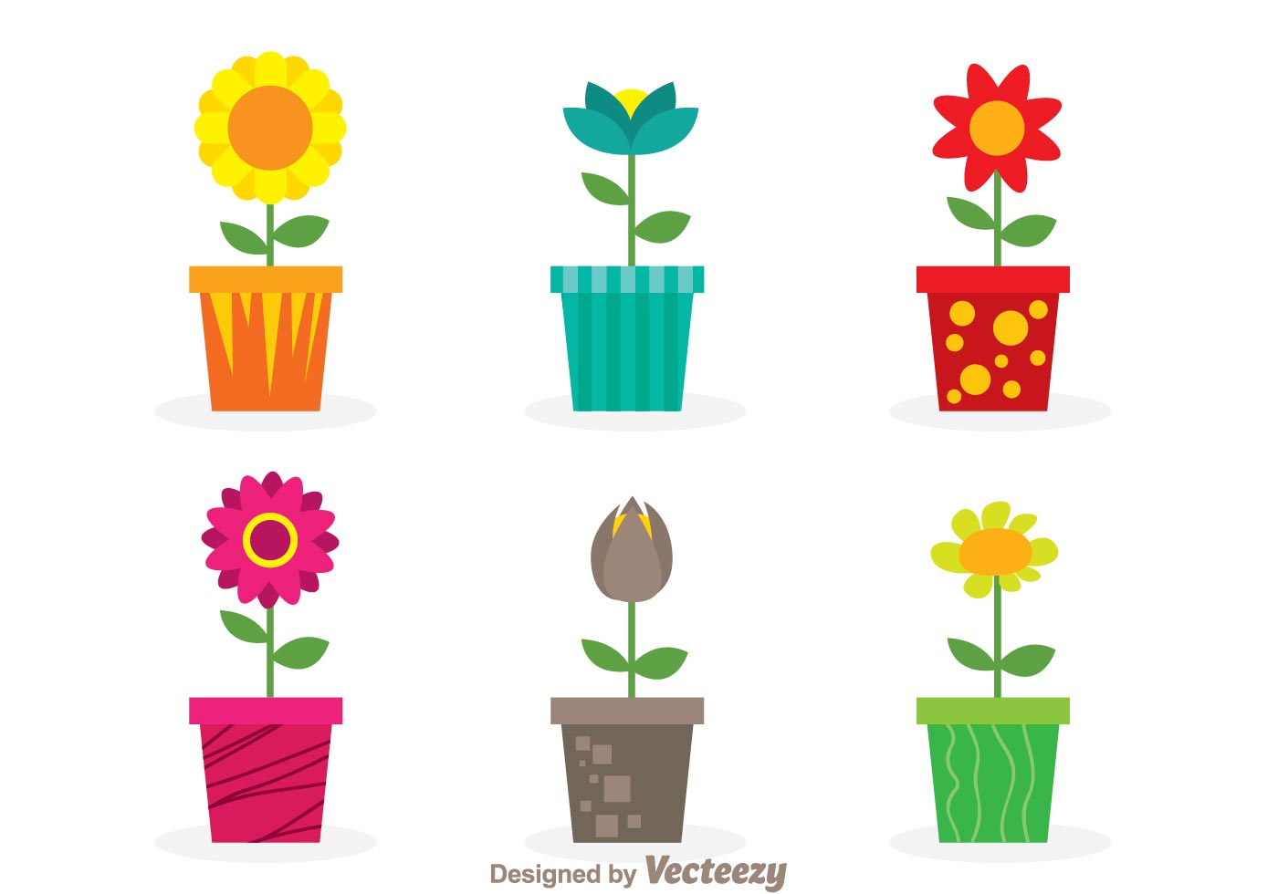 Different flower and flowerpot vector free download