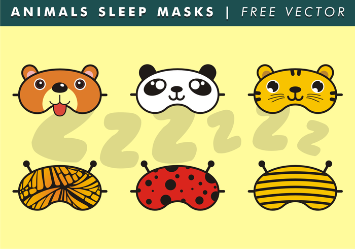 Animals Sleep Masks Free Vector