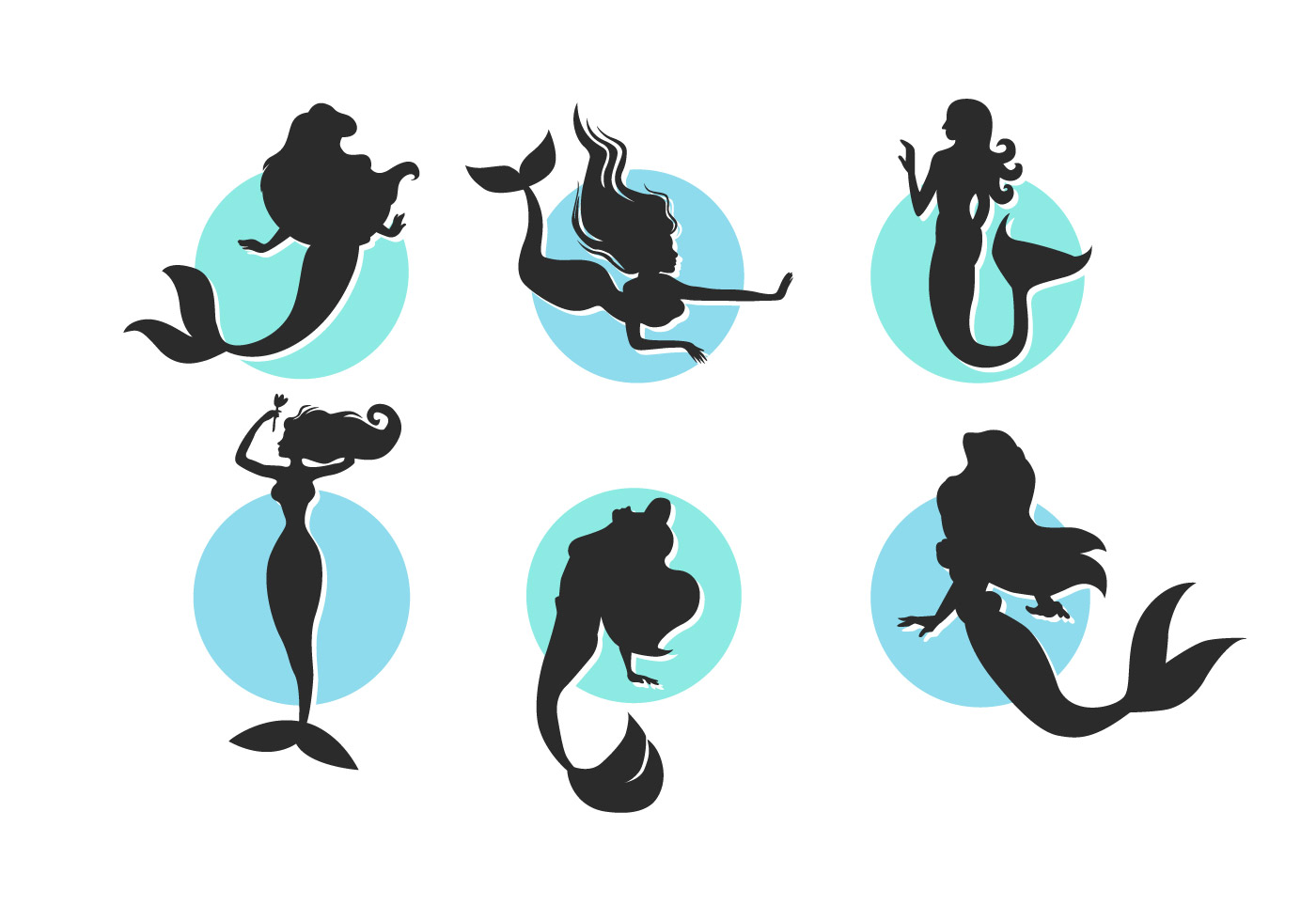 95515 Cartoon Mermaids Vector Silhouettes Illustrations Free Pack 2 on Stock Illustration Fish Silhouette