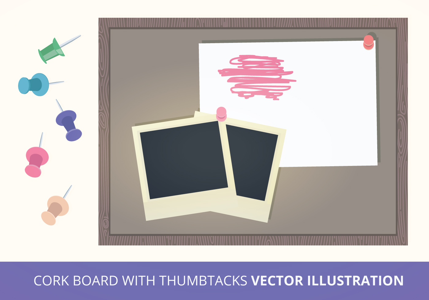 cork board with thumbtacks vector illustration