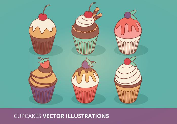 Collection de vignettes Cupcakes vecteur