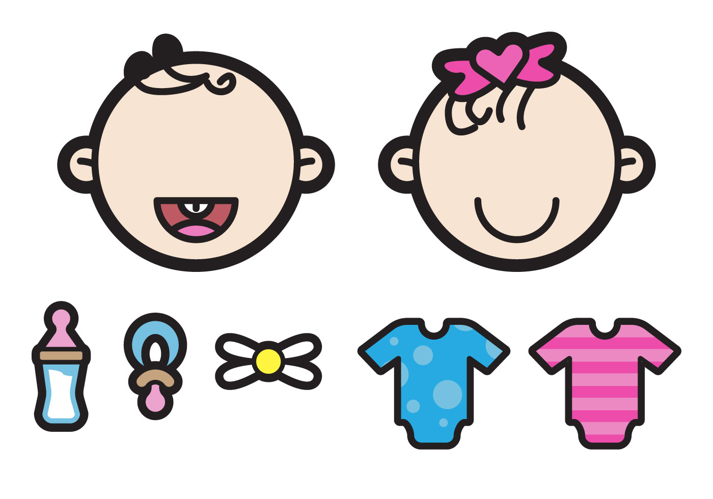 Two Cute Twin Babies Illustration Download Free Vectors