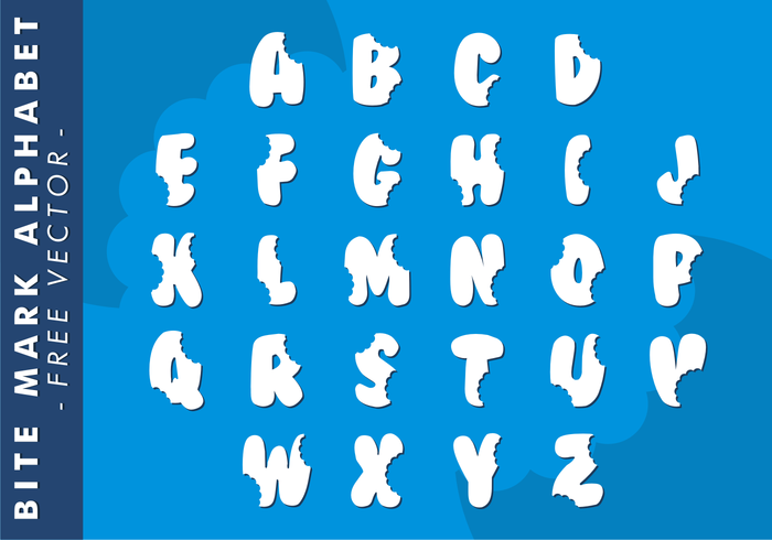 Bite Mark Alphabet Free Vector