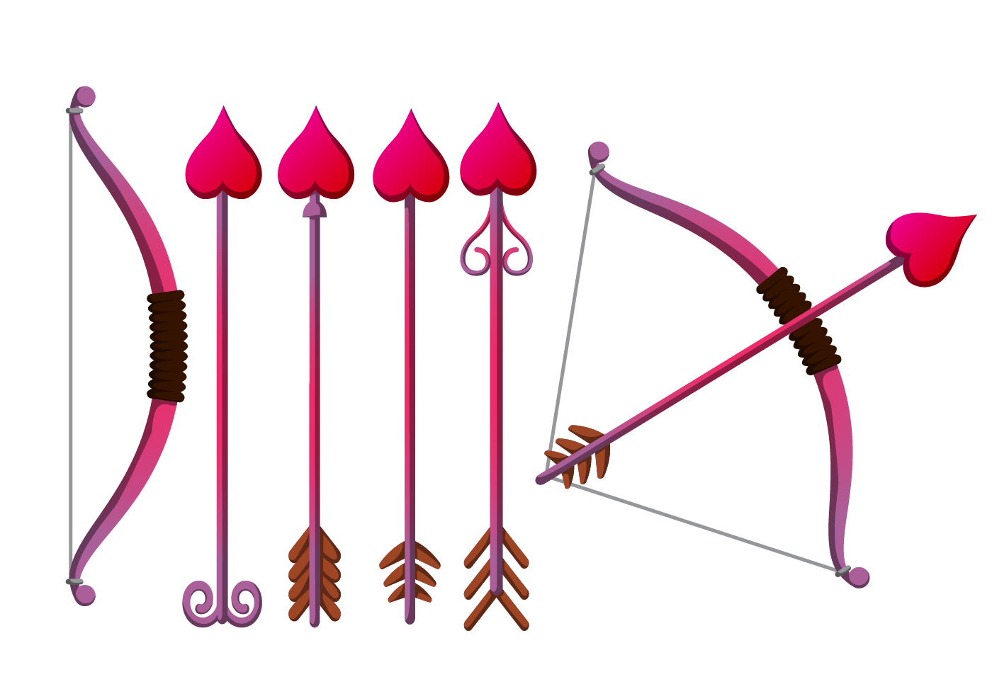 Cupid's Bow Vector Set - Download Free Vector Art, Stock Graphics & Images