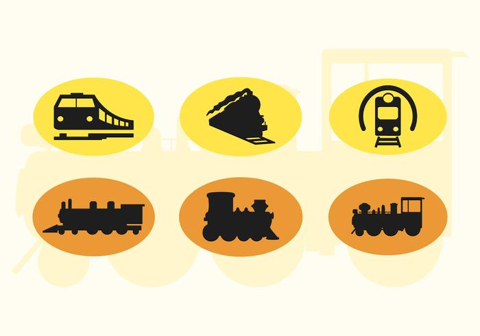 Set Of Cute Train Vector Icons Silhouettes 2