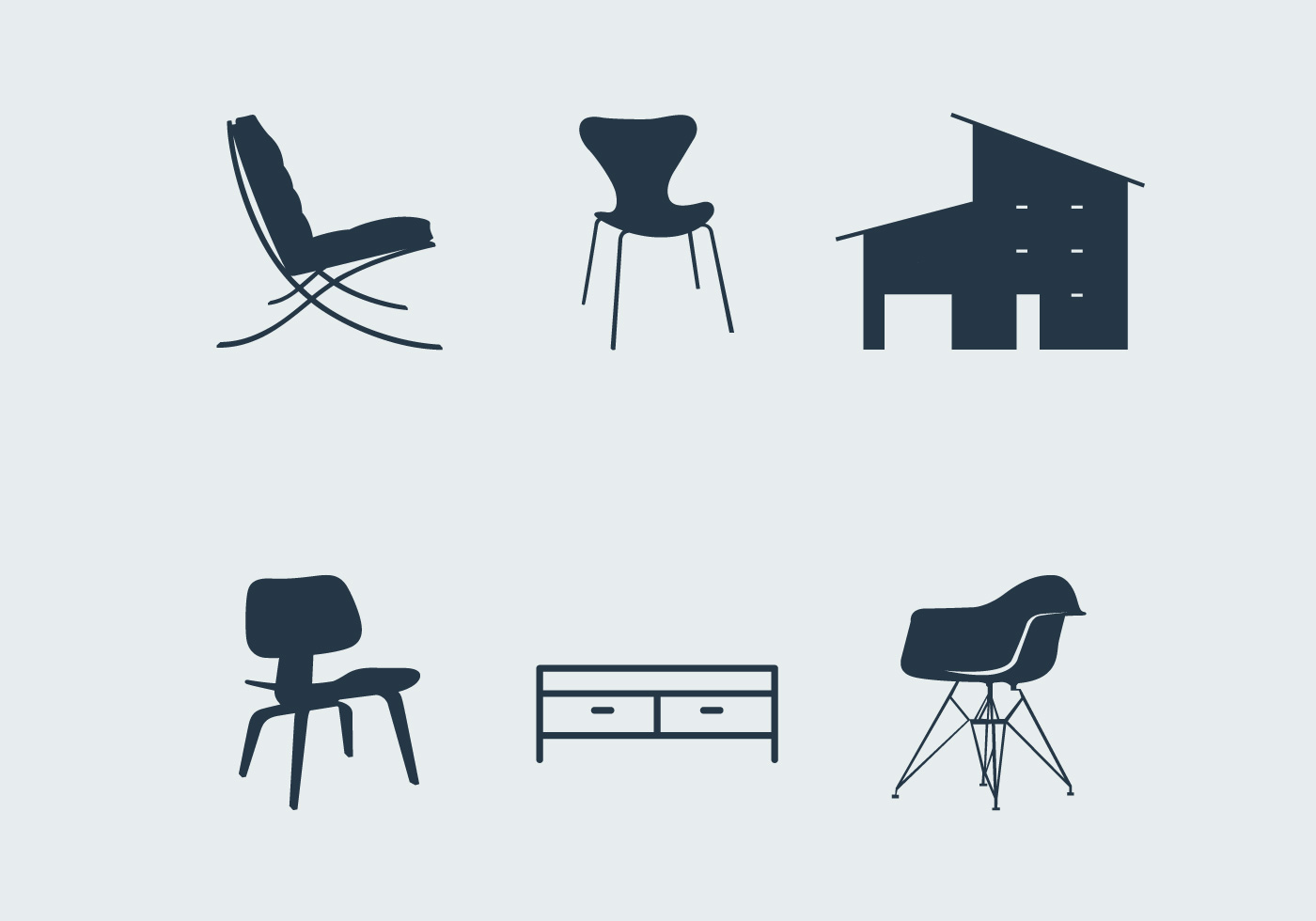 White Plastic Lawn Chairs Midcentury modern furniture - Download Free Vector Art ...