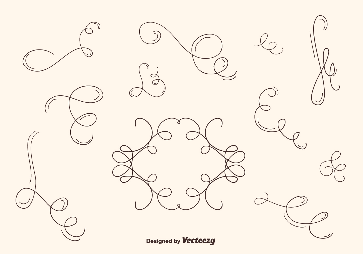 Hand Drawn Curly Swirl Vector Set Download Free Vector