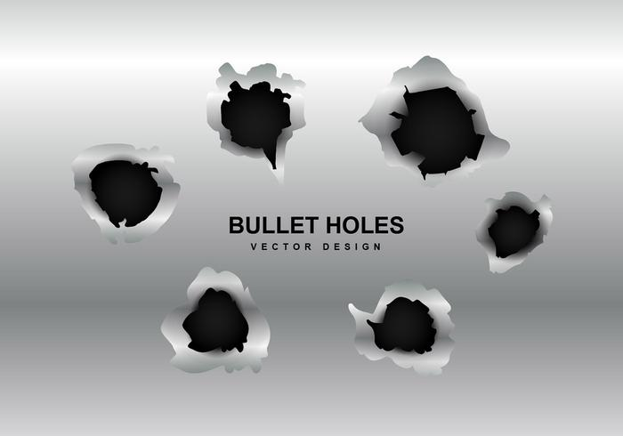 Vector metal bullet hole
