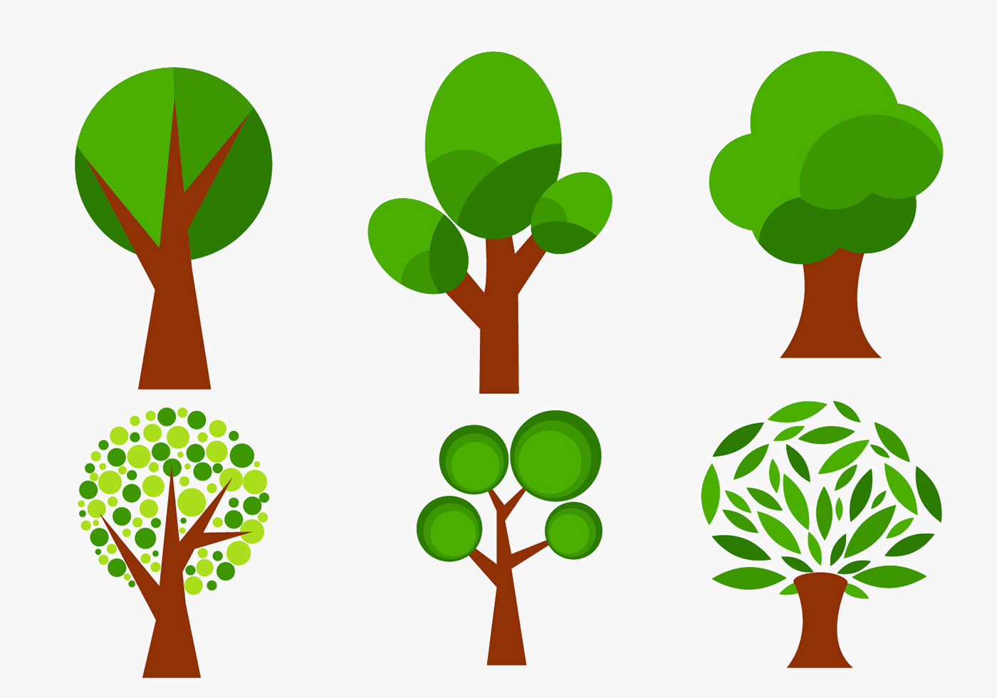 Vector Illustration Tree: Set Of Abstract Vector Trees