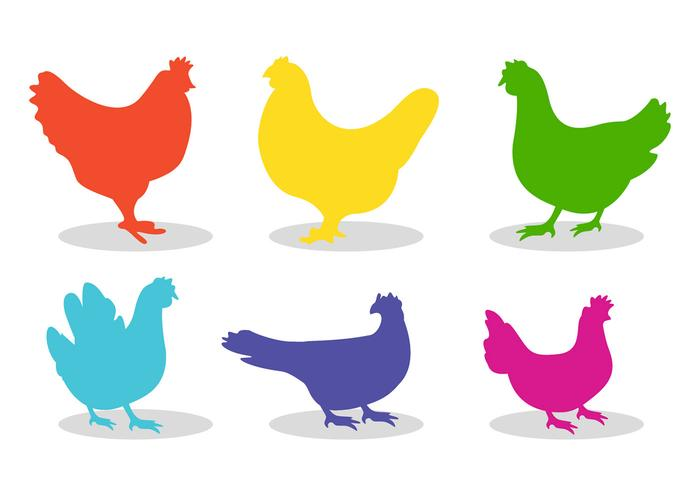 Set of chicken silhouette vectors