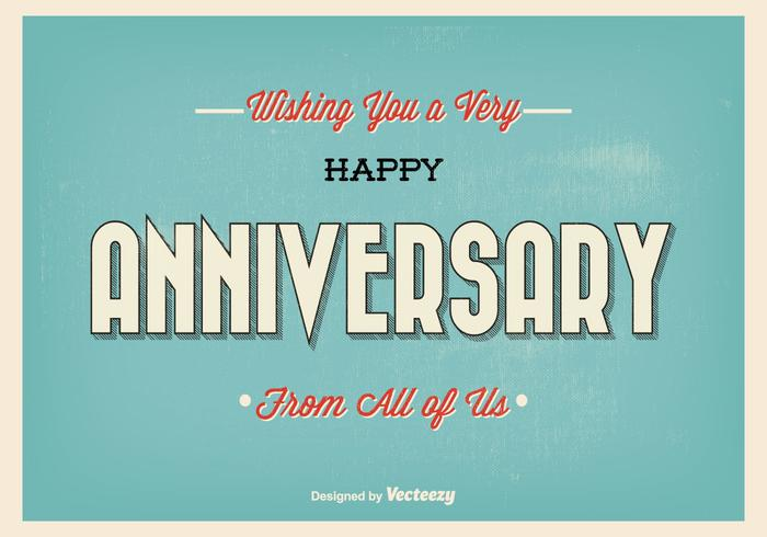 Retro Typographic Happy Anniversary Illustration