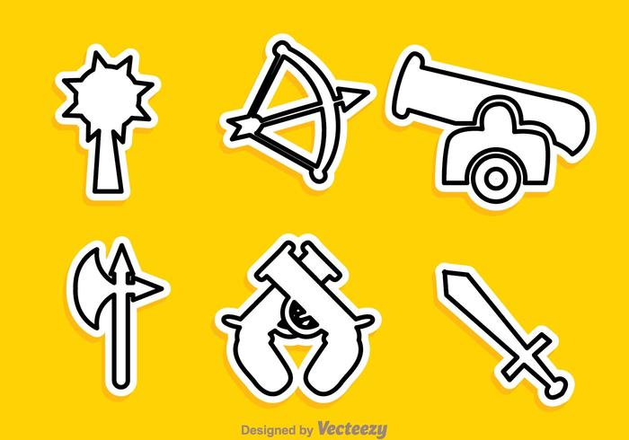 Various Vector Weapon Outline Icons