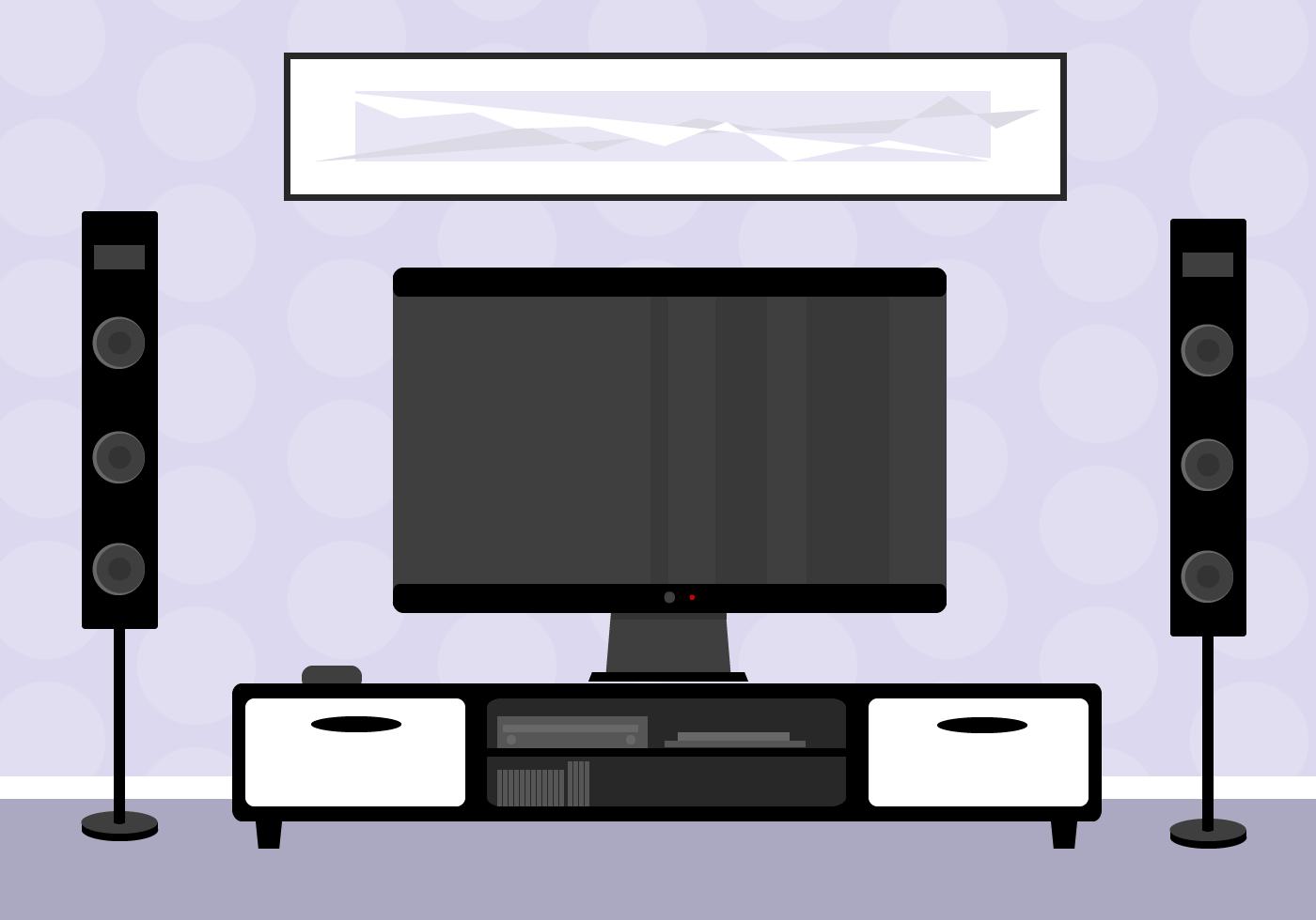 Living Room Red Wallpaper Tv