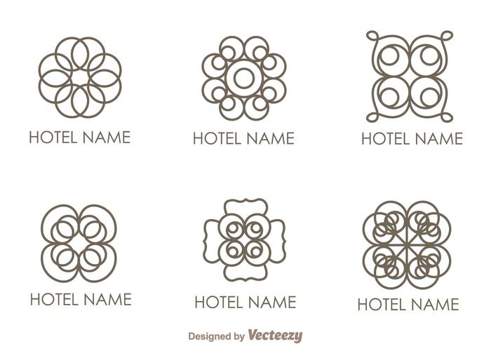 Bloemen Ornament Hotel Logo Vectoren