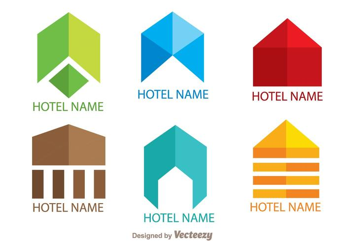 Colorful Simple Hotels Logo Vectors