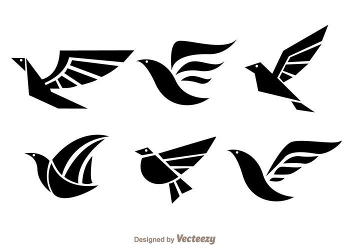 Vogel Zwarte Logo Vectoren