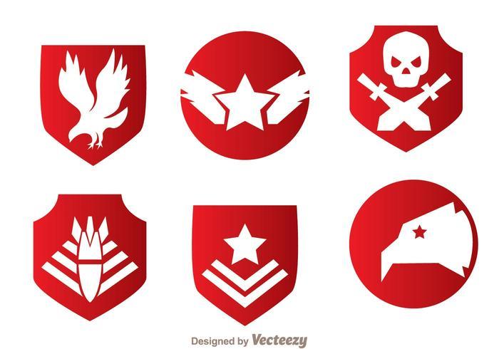 Militära röda emblemvektorer
