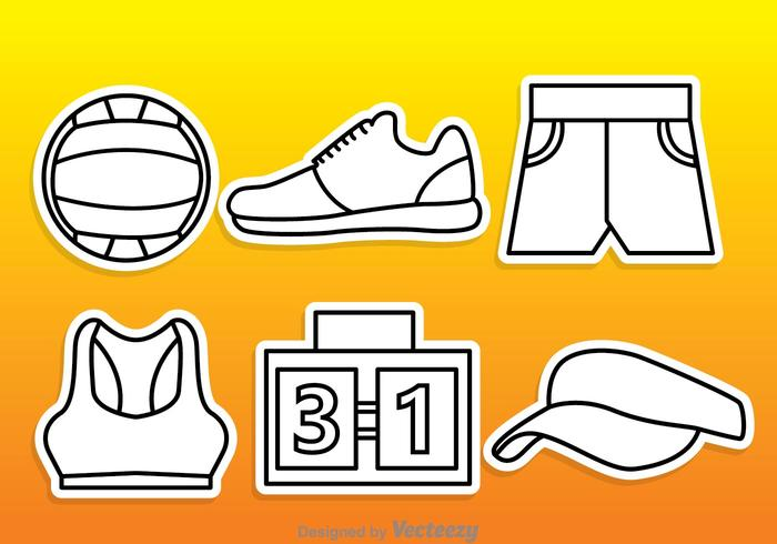 Beach Volleyball Outline Vectors